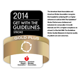 Official Stroke Center designated by the State of New York, receives Gold Plus Quality