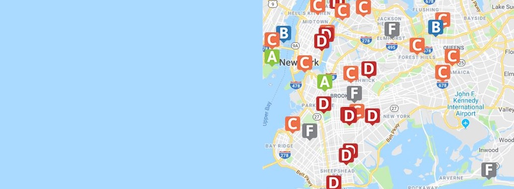 NYC Map of Leapfrog Hospital Safety Grades