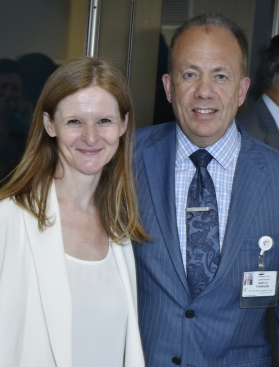 Katy Clark, BAM President, and Gary G. Terrinoni, TBHC President, at the July 10 reception celebrating the two institutions' new relationship.