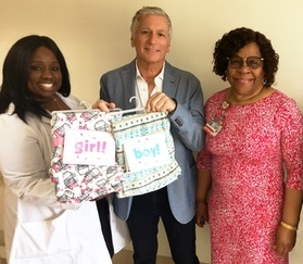 Sheila Cox, RN, Nurse Manager of OB/GYN; Sonia Alleyne, RN, Sr. Director Nursing, Maternal Child Health; and Cookie Falack, President of Cookie's