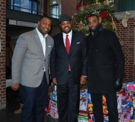 Rev. Earl Jones Jr., Rev. Earl Jones Sr., and William Jones in The Brooklyn Hospital Center's lobby