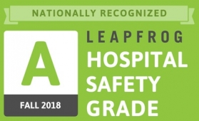 National Recognition Leapfrog Hospital Safety Grade A, Fall 2018