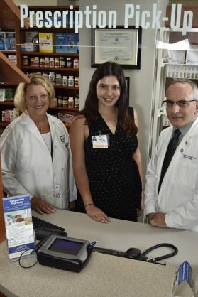 Kathleen Minlionica, PharmD, Director of Pharmacy; Amanda Romhen, PharmD, Outpatient Pharmacy Manager; and Robert DiGregorio, PharmD, Senior Director, Pharmacotherapy Services