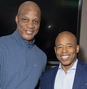 Baseball legend Darryl Strawberry and Brooklyn Borough President Eric L. Adams