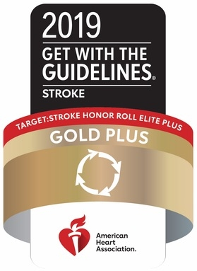 Target: Stroke Honor Roll Elite plus Gold plus Quality Achievement Award from the American Heart Association/American Stroke Association's Get With The Guidelines