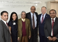 Sarath Reddy, MD, Chief of Cardiology at TBHC; Madhavi Reddy, MD, Program Director of Gastroenterology and Hepatology Fellowship Program at TBHC; Dr. Swaminathan; Samin Sharma, MD, Director of Clinical and Interventional Cardiology at The Mount Sinai Hospital; Gary G. Terrinoni, TBHC President and CEO; and Srinivas Kesanakurthy, MD, Medical Director, Cardiac Cath Lab and TBHC Program Director, The Brooklyn Heart Center.